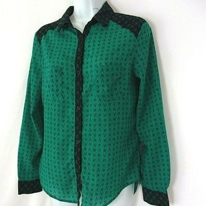 MNG Blouse Teal Long Sleeve S Button Down